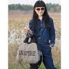 Мода Большой размер Холст сумка (Серый) #01036310