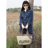 Мода Большой размер печати Canvs Shouler Tote (крем) #01036433