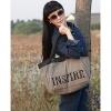 Мода Большой размер печати Canvs Shouler Tote (серый) #01036425