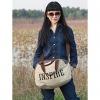 Мода Большой размер Холст сумка (крем) #01036423